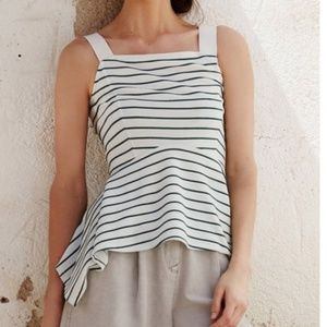 Anthropologie Deletta Striped Peplum Tank Medium